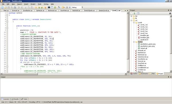 FlashDevelop Integrated Development Environment. Fancy.